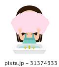 洗顔後、タオルで水分をふき取る女の子のイラスト 31374333