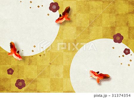 金箔と金魚と花【和風背景・シリーズ】 31374354