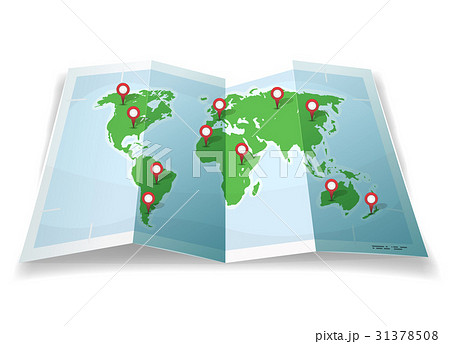travel world map with gps pinsのイラスト素材 31378508 pixta