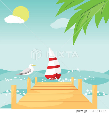 boat with red and white sail on beach 31381527