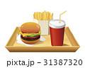 ドリンク赤(蓋付)手前配置_白トレイ付ハンバーガーセット 31387320