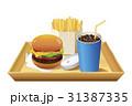 ドリンク青(コーラ)手前配置_白トレイ付ハンバーガーセット 31387335