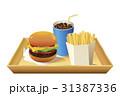 ドリンク青(コーラ)奥配置_白トレイ付ハンバーガーセット 31387336