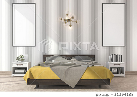 minimal yellow bed with mock up frame in bedroom 31394138