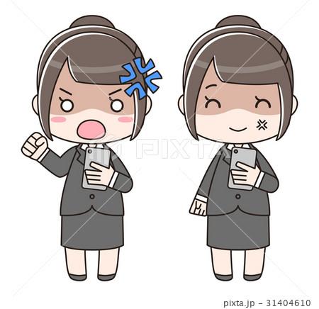 スマートフォンを見て怒っているスーツの女性 31404610