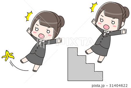 階段とバナナの皮で転びそうなスーツの女性 31404622