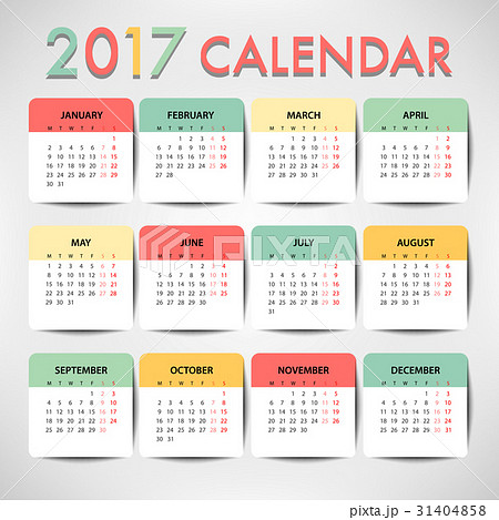 pastel color calendar for 2017 template design のイラスト素材
