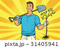 Man gardener with a shovel and sapling 31405941