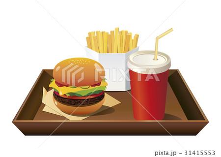 ドリンク赤(蓋付)手前配置_茶トレイ付ハンバーガーセットのイラスト素材 [31415553] - PIXTA