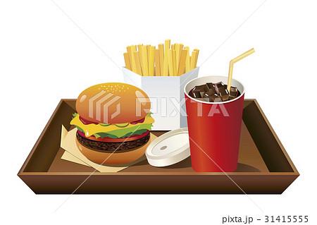 ドリンク赤(コーラ)手前配置_茶トレイ付ハンバーガーセット 31415555