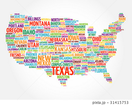 usa map word cloud collageのイラスト素材 31415753 pixta
