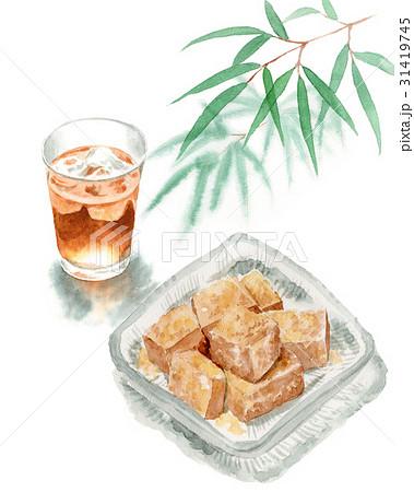 わらびもちと麦茶と笹の葉 31419745