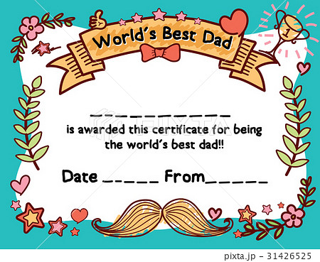 world s best dad award certificate templateのイラスト素材 31426525