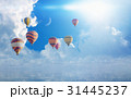 Colorful hot air balloons flying blue sea 31445237