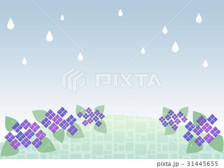 ガラス風 紫陽花 背景(雨) 31445655