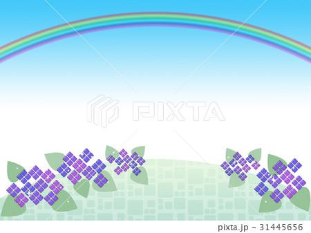 ガラス風 紫陽花 背景(雨上がりの虹) 31445656