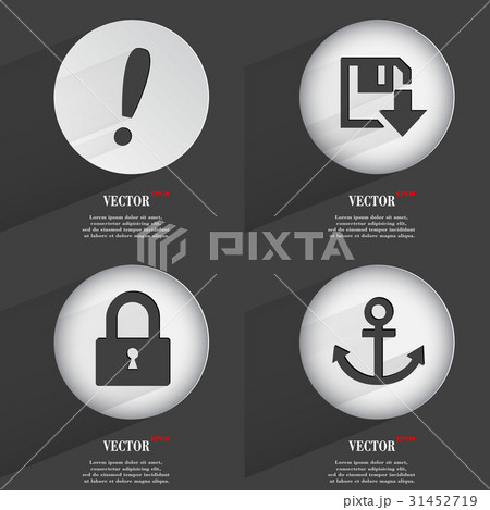 Set of Trendy buttons. Icons With Long Shadow. Vecのイラスト素材 [31452719] - PIXTA