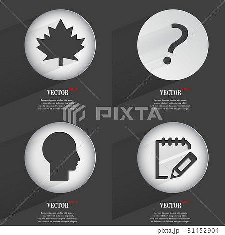 Set of 4 Flat Buttons. Icons with Shadows on Circuのイラスト素材 [31452904] - PIXTA