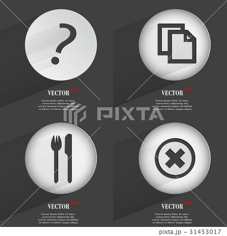 Set of 4 Flat Buttons. Icons with Shadows on Circuのイラスト素材 [31453017] - PIXTA