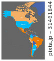 Political map of Americas in four colors on dark 31461844