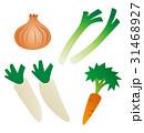 野菜のイラスト、玉ねぎ、ネギ、ダイコン、ニンジン 31468927