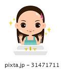 美容ケアをしてキレイになった女の子のイラスト 31471711