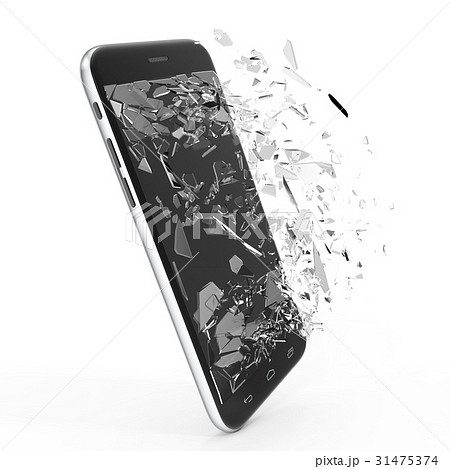 Phone with broken screen isolated on white 31475374