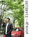 カジュアル ミドルビジネスマン 赤い車 31486190