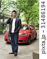 カジュアル ミドルビジネスマン 赤い車 31486194