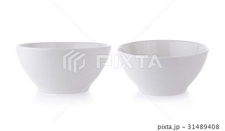 white ceramics bowl isolated on white backgroundの写真素材 [31489408] - PIXTA