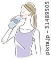 水を飲む女性 31489505
