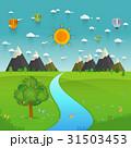 川 流れ 山のイラスト 31503453