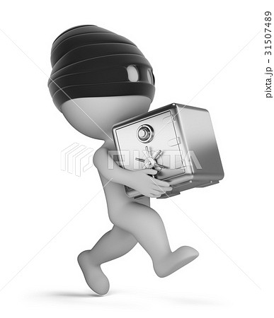 3d small people - thief with safe 31507489