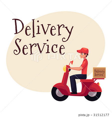 Courier, delivery service worker riding scooter 31512177