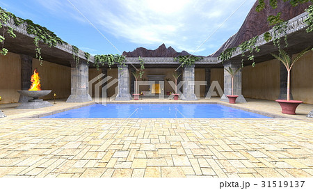 プールのある中庭 31519137