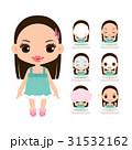 洗顔して、メイクを落とす女の子のイラストのセット 31532162