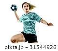 young teenager girl woman Handball player isolated 31544926