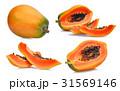 set of fresh ripe papaya isolated on white  31569146