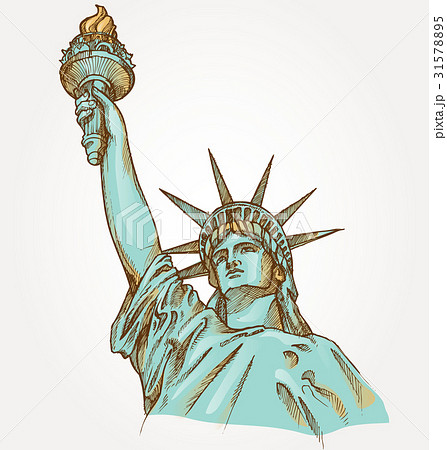 Statue Of Liberty Hand Dawn On Backgroundのイラスト素材 31578895