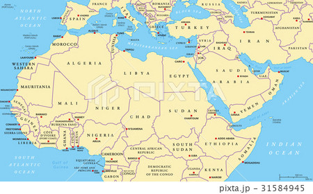 North Africa and Middle East political mapのイラスト素材 [31584945] - PIXTA