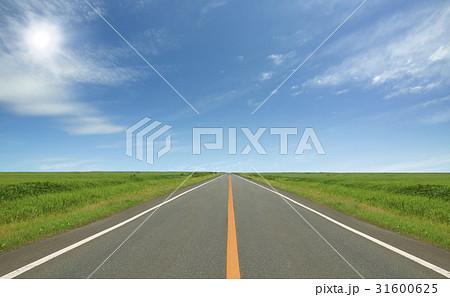 草原の直線道路と雲と太陽 31600625