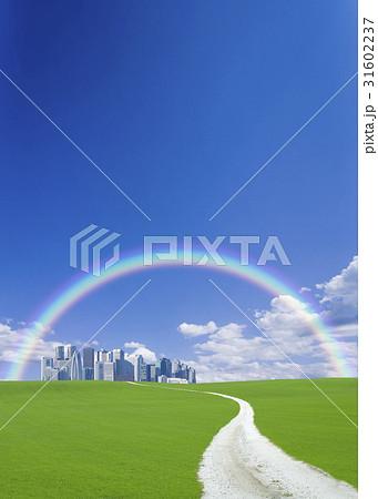 丘の向こうの高層ビル街へ続く道と虹 31602237