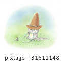 麦わら帽子をかぶった猫・クローバー畑 31611148