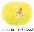 麦わら帽子をかぶった猫・菜の花畑 31611288