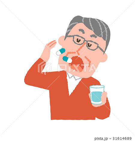 薬を服用する高齢の男性 31614689