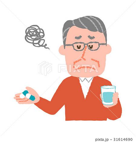 薬を服用したくない高齢の男性 31614690