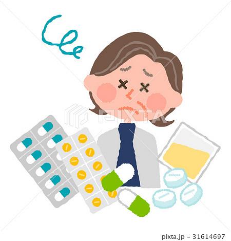 たくさんの薬にうんざりする高齢の女性 31614697
