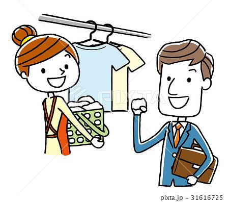 働くビジネスマンと洗濯を干す女性 31616725