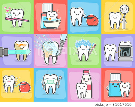 Teeth care treatment and hygiene concepts set. 31617616