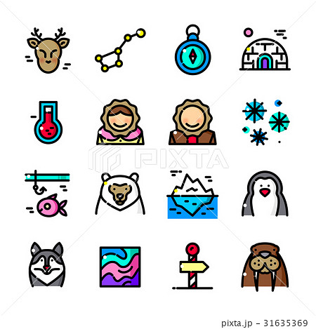 Thin line Arctic icons set, vector illustration 31635369